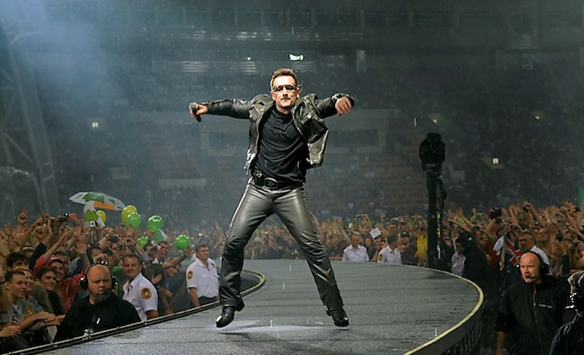 Lead singer Bono of Irish rock band U2 p