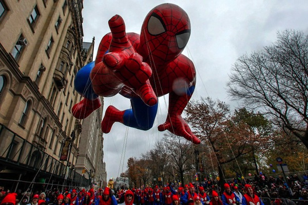 The Spiderman balloon floats down Central Park West during the 88th Macy's Thanksgiving Day Parade in New York