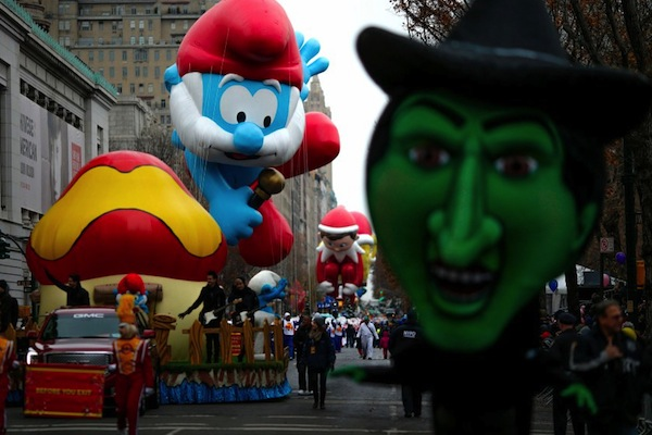 Balloons float down Central Park West during the 88th Macy's Thanksgiving Day Parade in New York