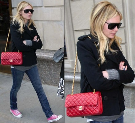 actress-celebrity-star-kristen-dunst-chanel-255-flap-classic-bag-red